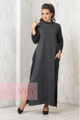 Платье 182-3455 черный меланж/черный