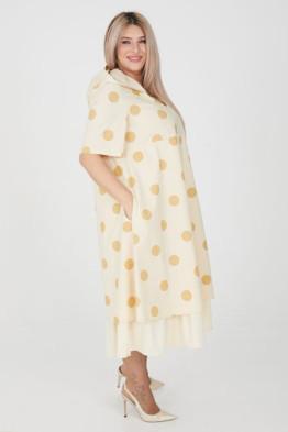 Платье 1205 кремовый/бежевый горох