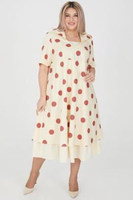 Платье 1205 кремовый/коричневый горох