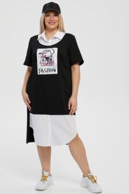 Платье 1231 черный-белый