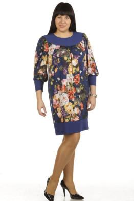 Платье 355 (розы на синем)