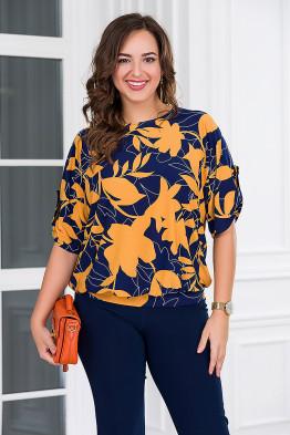 Блузка Кристина (синий/оранжевый)