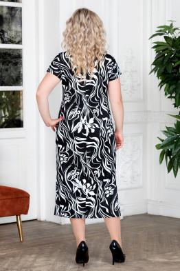 Платье Афелия (черный/цветы)