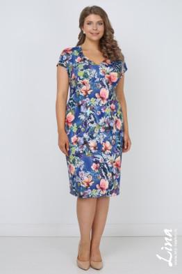Платье Олисия (цветы на синем)