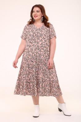 Платье Виктория (бежевый/цветы)