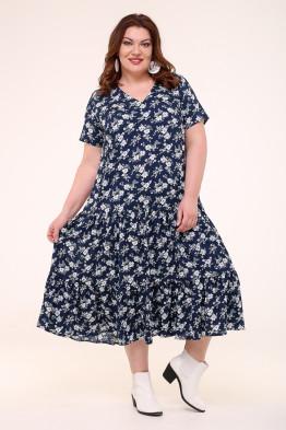 Платье Виктория (синий/цветы)