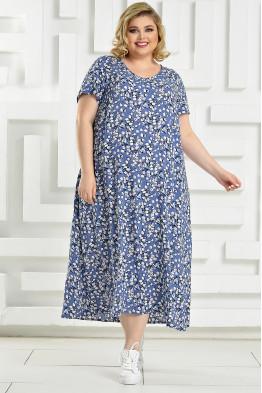 Платье Афина (голубой/белый)