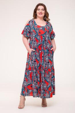 Платье Лилия (ремни/красный)