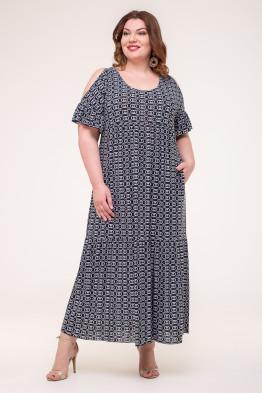 Платье Лилия (синий/белый)