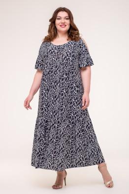 Платье Лилия (синий/паутинка)