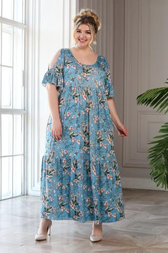 Платье Лилия (темно голубой)