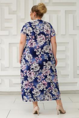 Платье Париж (синий/цветы серые)