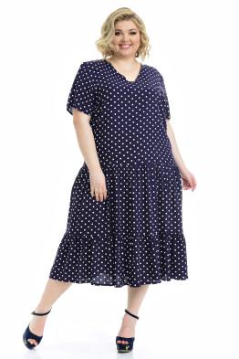 Платье Виктория (горох/темно синий)