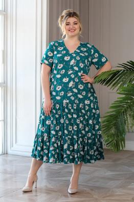 Платье Виктория (зеленый/цветы)
