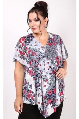 Блузка Марта (белый/цветы)