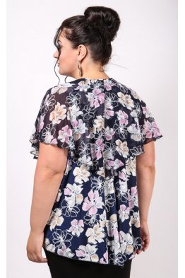 Блузка Марта (синий/цветы)