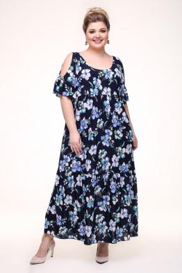 Платье Лилия (синий/цветы)