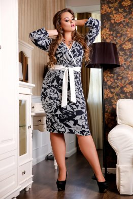 Платье Монреаль А1 (принт на сером)