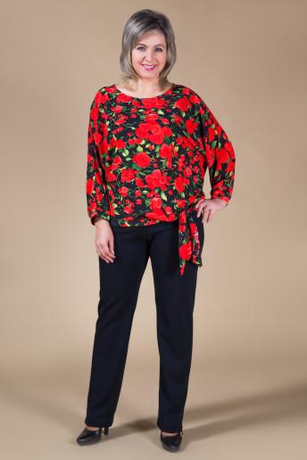 Блузка Розалия (розы на черном)