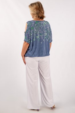 Блузка Симона (вышивка зеленая)