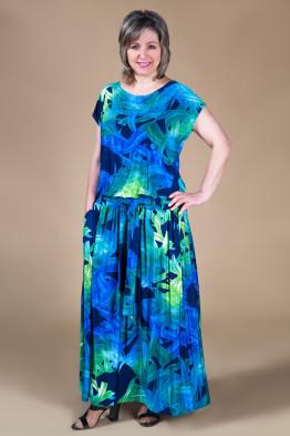 Платье Дженни (сине-зеленый)