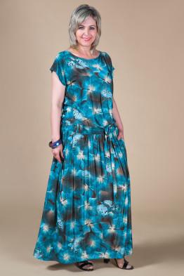 Платье Дженни (цветы/бирюза)