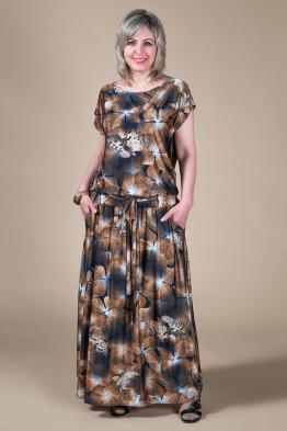 Платье Дженни (цветы/коричневый)