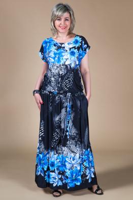 Платье Дженни (цветы синие)