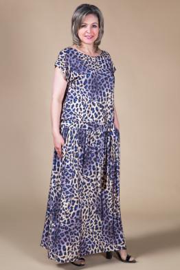 Платье Дженни (леопард-синий)