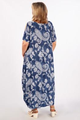 Платье Алиса (джинс/узоры белые)