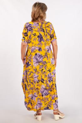 Платье Алиса (горчичный/сиреневый)