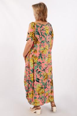 Платье Алиса (листья на розовом)