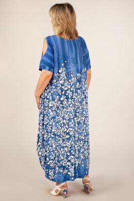 Платье Алиса (цветы на синем)