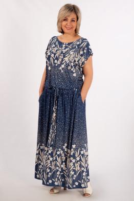 Платье Анджелина (джинс/цветы молочные)