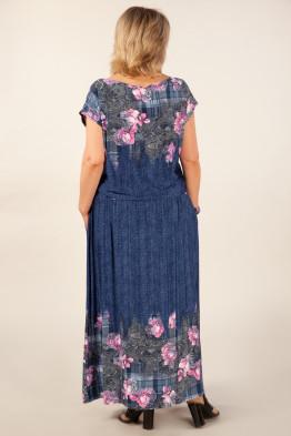 Платье Анджелина-2 (джинс/цветы розовые)