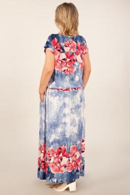 Платье Анджелина-2 (джинс/цветы красные)
