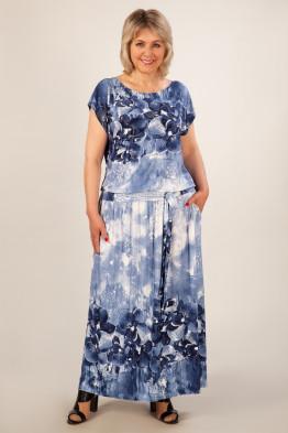 Платье Анджелина-2 (джинс/цветы синие)