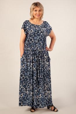 Платье Анджелина-2 (леопард черно-синий)