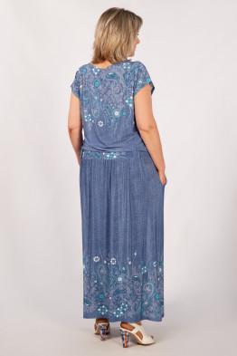 Платье Анджелина (вышивка бирюзовая)
