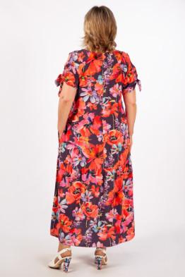 Платье Анфиса (цветы красные)