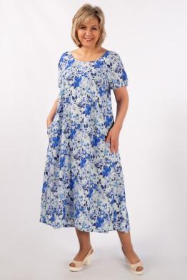 Платье Лайма (цветы голубые)