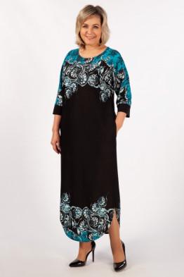 Платье Моника (бирюза/черный)
