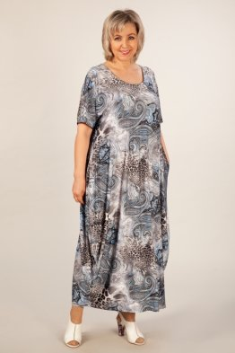 Платье Вероника-2 (леопард узоры голубые)