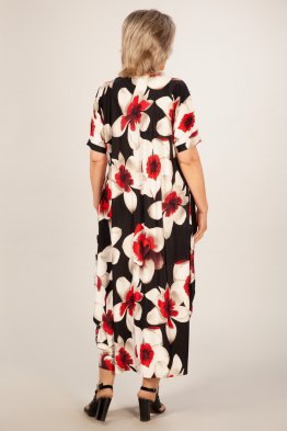 Платье Вероника-2 (цветы красно-белые)