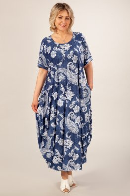 Платье Вероника-2 (джинс/узор белый)