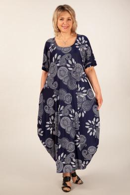 Платье Вероника-2 (узоры на синем)