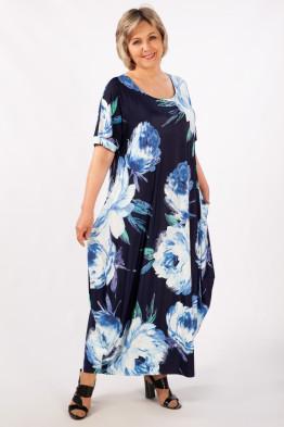 Платье Вероника-2 (цветы голубые)