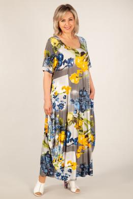 Платье Вероника (цветы желто-голубые)