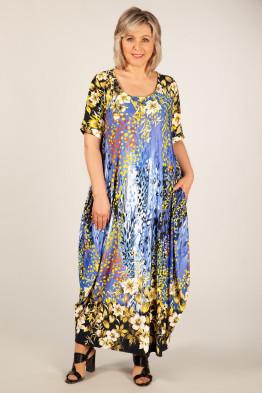 Платье Вероника (цветы на синем)