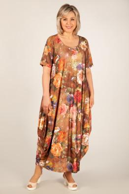 Платье Вероника (цветы на терракотовом)